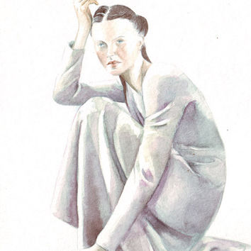 Original watercolor art woman sitting in pool of dress painting