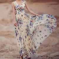 European Style Big size XXXL Summer maxi butterfly Print long dress woman print Chiffon Bohemian Beach dresses KH850751