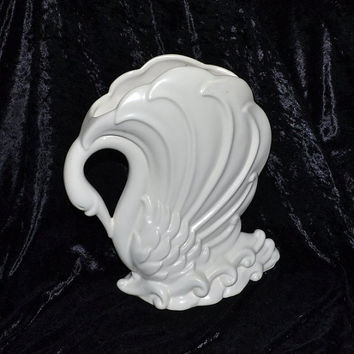 SWAN Planter Matte White Art Pottery on Waves  Vase 12 Inches Tall 10 Inches Wide - Exquisite Showpiece