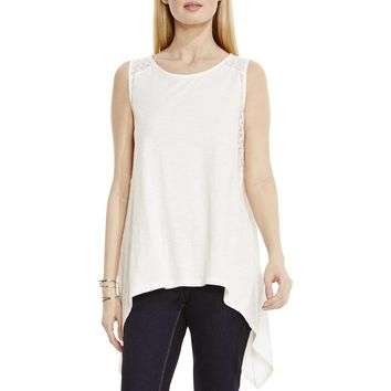 Two by Vince Camuto Womens Lace Trim Handkerchief Hem Tank Top
