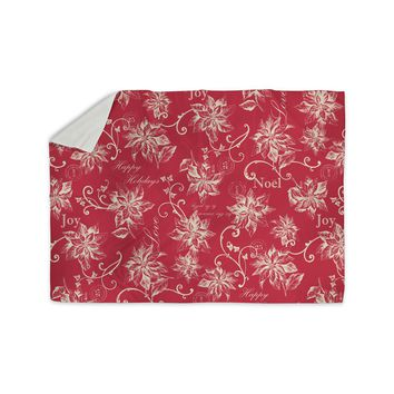 "Jacqueline Milton ""Poinsettia Joy"" Red Holiday Floral Illustration Painting Sherpa Blanket"