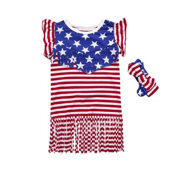 Little Girl's Star Print 4th Of July / Memorial Day Dress