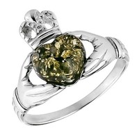 Green Amber and Sterling Silver Irish Claddagh Ring, Sizes 5,6,7,8,9,10,11,12