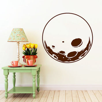 Moon Wall Decal Moon Space Decals Vinyl Sticker Interior Home Decor Vinyl Art Wall Decor Bedroom Nursery Baby Kids Children's Room SV5895