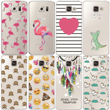 Flamingo Case Cover For Samsung Galaxy S3 S4 S5 S6 S7 Edge J3 J5 A3 A5 2015 2016 2017 Core Grand Prime Transparent Silicone