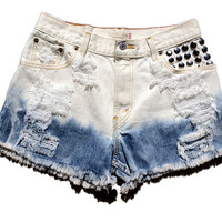 Studded Distressed Ombre Levi's High Waisted Cut Off Shorts