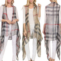 Women Sheer PLAID FLORAL Long DRAPED Vest Kimono Cover Up CARDIGAN RUANA