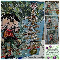Decking the Halls Handmade Christmas Card . Ready to Ship.