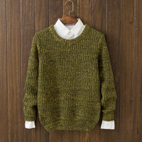 Casual Men's Solid Comfortable Round Collar Knitwear Warm Sweater