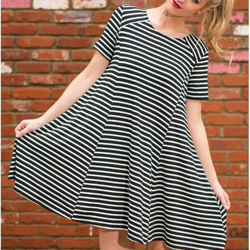 Black and White Striped Short Sleeve Mini Dress