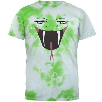 LMFCY8 Anime Snake Face Hebi Lightning Green Tie Dye Adult T-Shirt