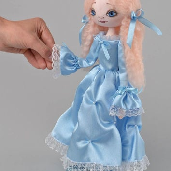 Handmade designer interior fabric soft doll Princess in blue satin dress