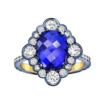 Ana De Costa Yellow Gold Blue Tanzanite White Diamond Cocktail Engagement Ring