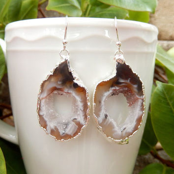 Geode Slice Earrings Silver Agate Crystal Quartz Druzy Jewelry Freeform Boho Festival Brown White - Free Shipping