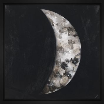 New Moon III 28L X 28H Floater Framed Art Giclee Wrapped Canvas