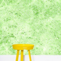 'Pastel green and white swirls doodles' Wallpaper by Savousepate on miPic