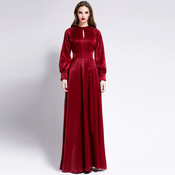 Maxi Dres 2016 Winter Autumn Fashion Runway Women's Elegant Long Lantern Sleeve Backless Bow Red / Black Dress