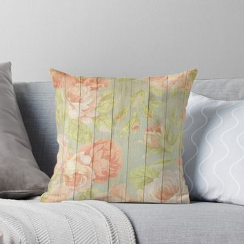 'Shabby Chic Vintage Pretty Pastel Pink Roses & Peonies' Throw Pillow by JoieDesigns