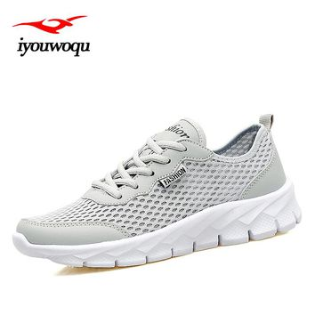 iyouwoqu On Sale 2017 Summer New design Breathable Hollow Mesh Running shoes for Men Plus size Sneakers men Indoor sports shoes