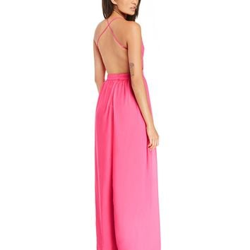 V-Neck Strappy Cross Back Mesh Maxi Dress