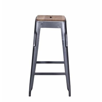 Reproduction of Xavier Pauchard Tolix Style Bar Stool Grey - Iron with Wooden Seat | GFURN