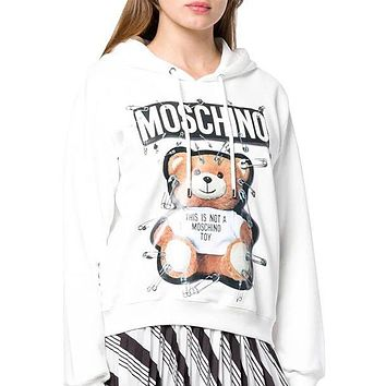 Moschino autumn and winter tide brand female pin pin bear print hooded sweater White