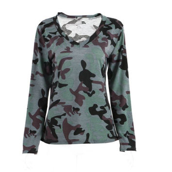 Spring & Autumn Casual Women Camo Long Sleeve T Shirt Printing Military Camouflage Camo Tops Tees 18% off #2148