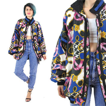 80s 90s Baroque Print Windbreaker Belts and Chains Bomber Jacket Zip Up Unisex Colorful Slouchy Nylon Hip Hop Long Sleeve Jacket (L/XL)