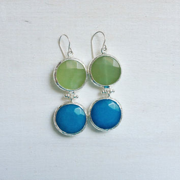 LARGE dangle long  DUAL light mint green and  sky blue gemstone earringssilver gemstone earrings Israel jewelry