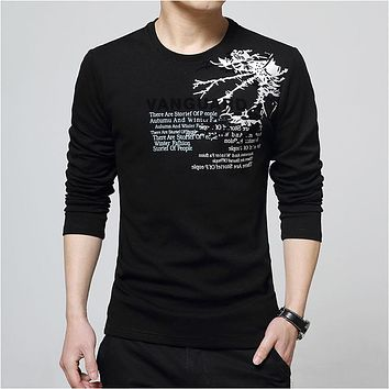 Men's O neck T Shirt Letter Printing Long Sleeve Cotton