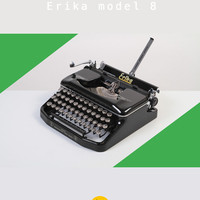 Rare 1952 Erika model 8 Typewriter. Fully working. Portable. East Germany. Glossy black. With case.
