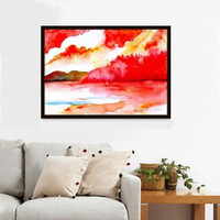 Evening watercolor painting abstract landscape water forest sky print wall art red color print colorful bright color poster nature fineart