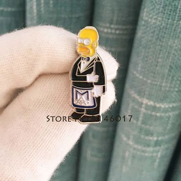 Masonic Apron Lapel Pin Cartoon Simpsons Ceremonial Suit Brooch New Arrival Hot Soft Enamel Pins Badge Metal Craft Meme Gift