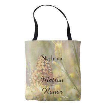 Matron of Honor Personalized Tote Yellow Butterfly