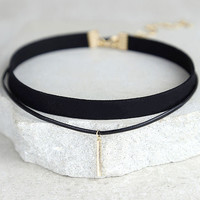 Sweetness Black and Gold Layered Choker Necklace