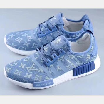 Louis Vuitton x Adidas NMD XR_1 Boost Fashion Trending Leisure Running Sports Shoes blue HZ