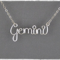 FREE SHIPPING!!!  Gemini Astrology Sign Wire Word Pendant Necklace