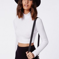 Missguided - Dharma Ribbed Turtle Neck Long Sleeve Crop Top White