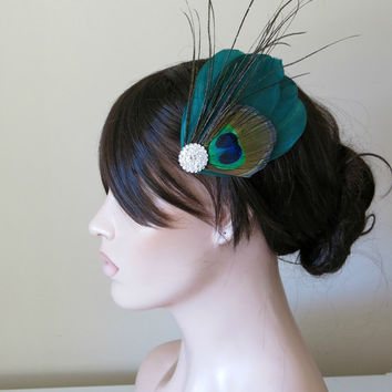 Peacock Bride Bridesmaid Feather Hair Accessory, Feather Fascinator, Bridal, Hair PIece,Feather, Hair Clip, Green