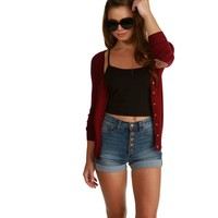 Burgundy Patch Work Cardigan