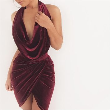 MARIAH VELVET SLINK NECK DRESS
