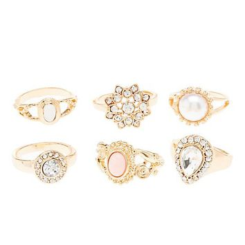 Gem & Rhinestone Cocktail Rings - 6 Pack