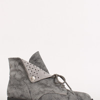 Perforated Collar Faux Suede Desert Boot