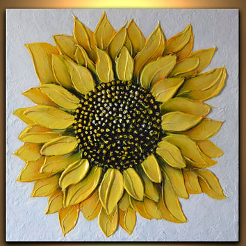 Still Life Painting, Sunflower art, 3D impasto painting, Original Abstract Art, yellow flower painting, Gift for her