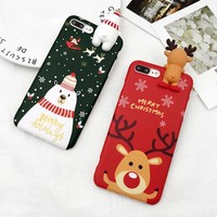 LOVECOM Christmas Gift Phone Case For iPhone 6 6S 7 8 Plus Cartoon Christmas Deer & Snowman Soft TPU Phone Back Cover Cases
