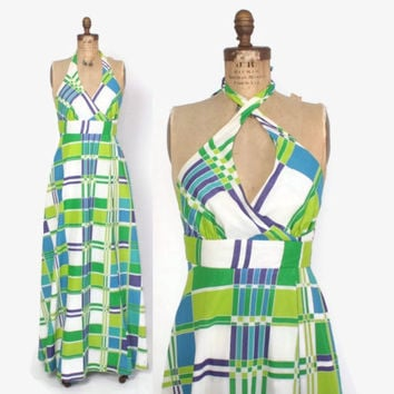 Vintage 60s Halter DRESS / Vintage 1960s Bright Plaid Cotton Tori Richard Maxi Sun Dress S - M