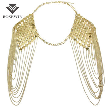 Gold Bohemian Shoulder Body Chain Colar Necklace