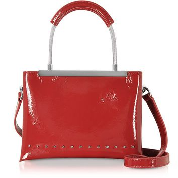 Alexander Wang Dime Lipstick Red Patent Leather Small Satchel Bag w/Shoulder Strap