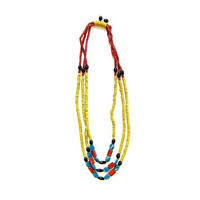 Vintage African Necklace. Long Beaded Necklace. Three Strand Necklace. Glass Bead Necklace. Tribal Necklace. Yellow Blue Red Black Necklace