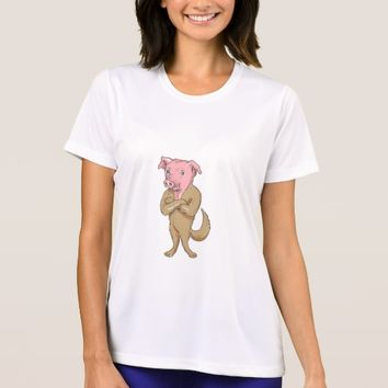 Pig Dog Standing Arms Crossed Cartoon T-Shirt